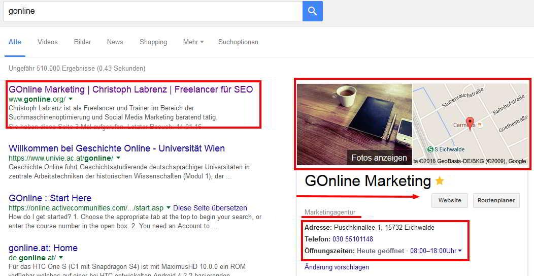 Lokaler Eintrag von GOnline Marketing
