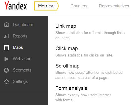 Yandex Metrica Maps