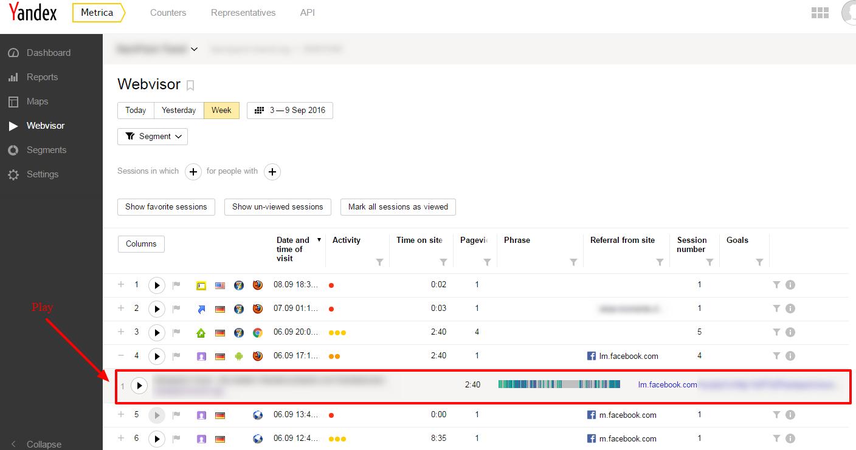 Yandex Metrica Webvisor