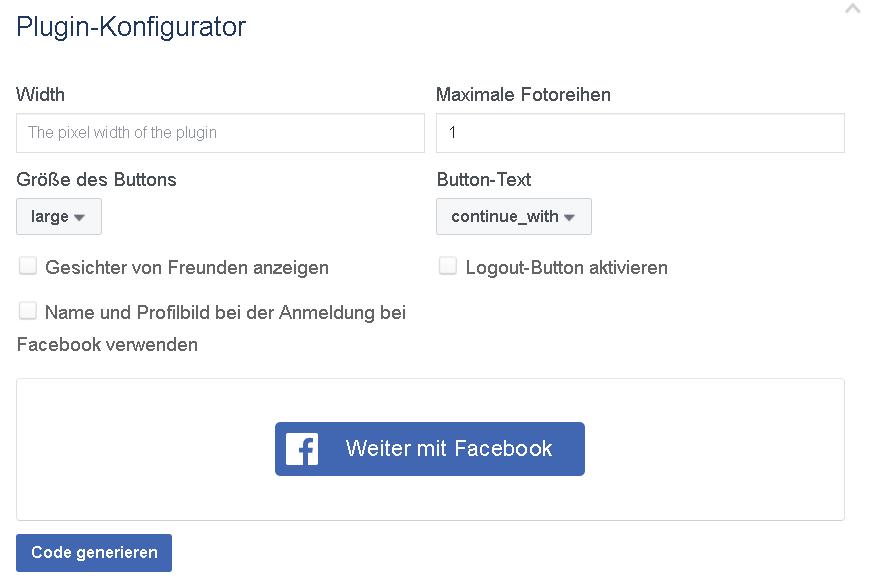 Facebook Login auf eigener Seite - Button Generator