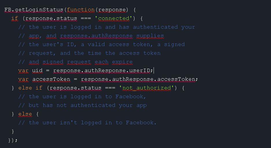 Facebook Login auf eigener Seite - Loginstatus prüfen